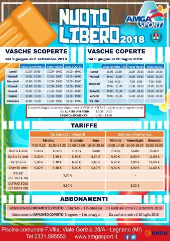 Nuoto libero estate 2018 piscina comunale f villa di legnano amga sport - Piscina di legnano ...